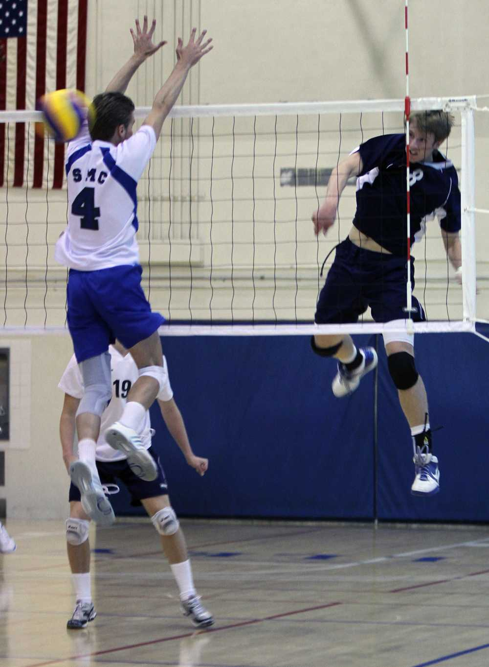 Kyle Burgoyne drills a spike past Santa Monica college on Friday at El Camino College on Friday.