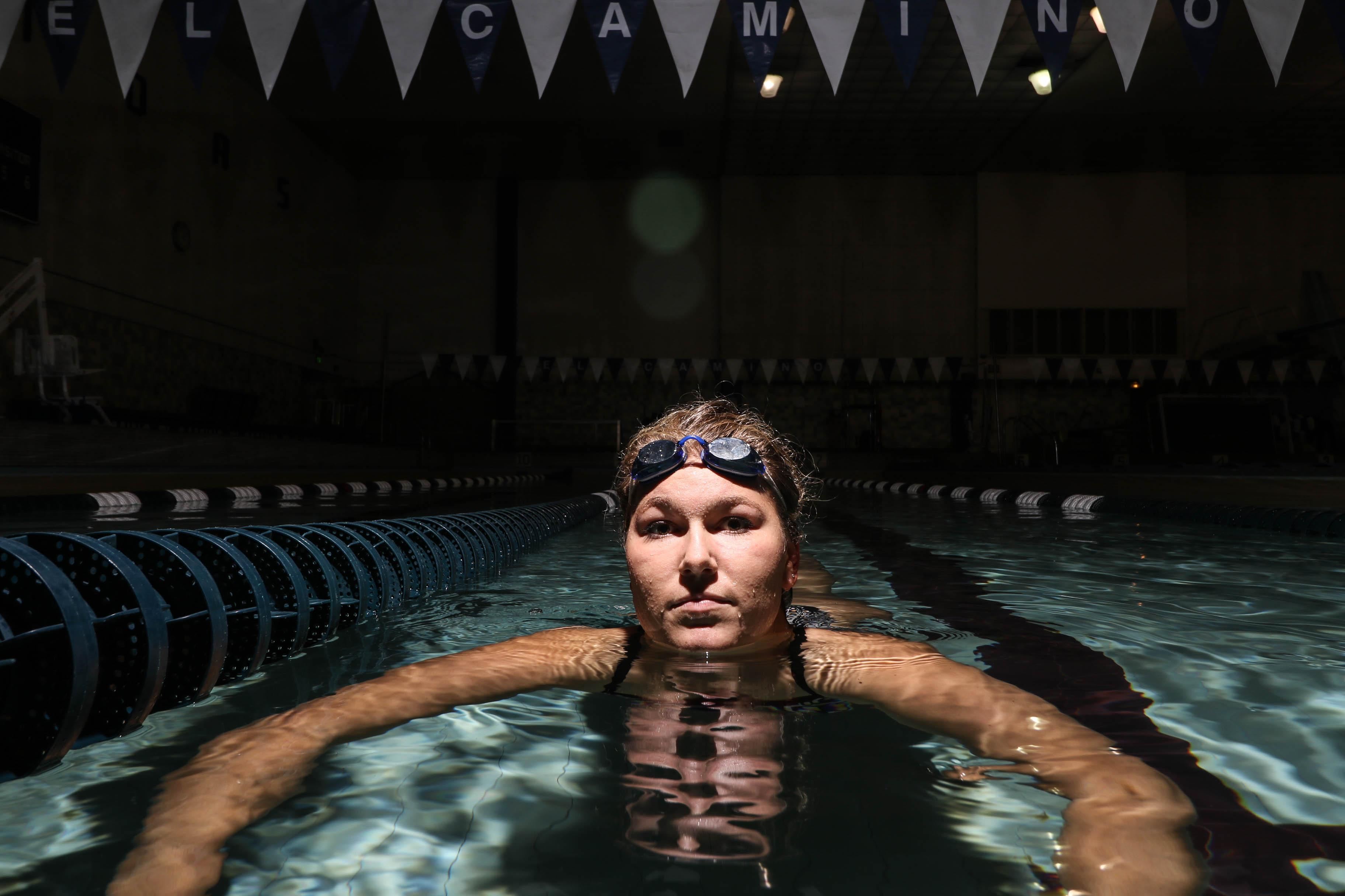 Monica Bender, 20, a member of the El Camino 2015 Conference Champion women's swim team and an accomplished long-distance swimmer achieved a personal goal of swimming across the English Channel in 13 hrs and 41 mins. Photo credit: Jackie Romano
