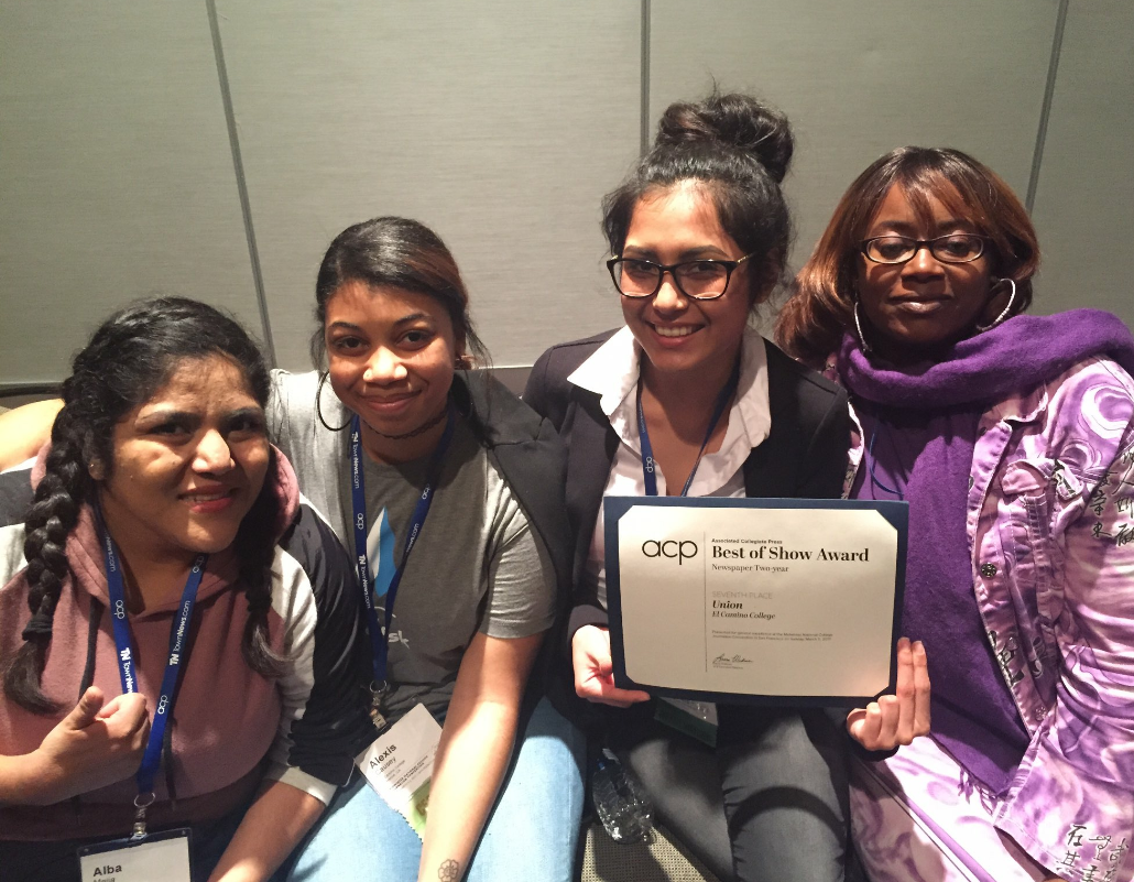 (Left) Alba Mejia, Alexis Caussey, Sierra Robles and Shontel Leake are editors and staff writers for The Union. El Camino's student-run newspaper placed seventh in the nation at the Associated Collegiate Press Midwinter Convention on March 5. Photo credit: Stefanie Frith