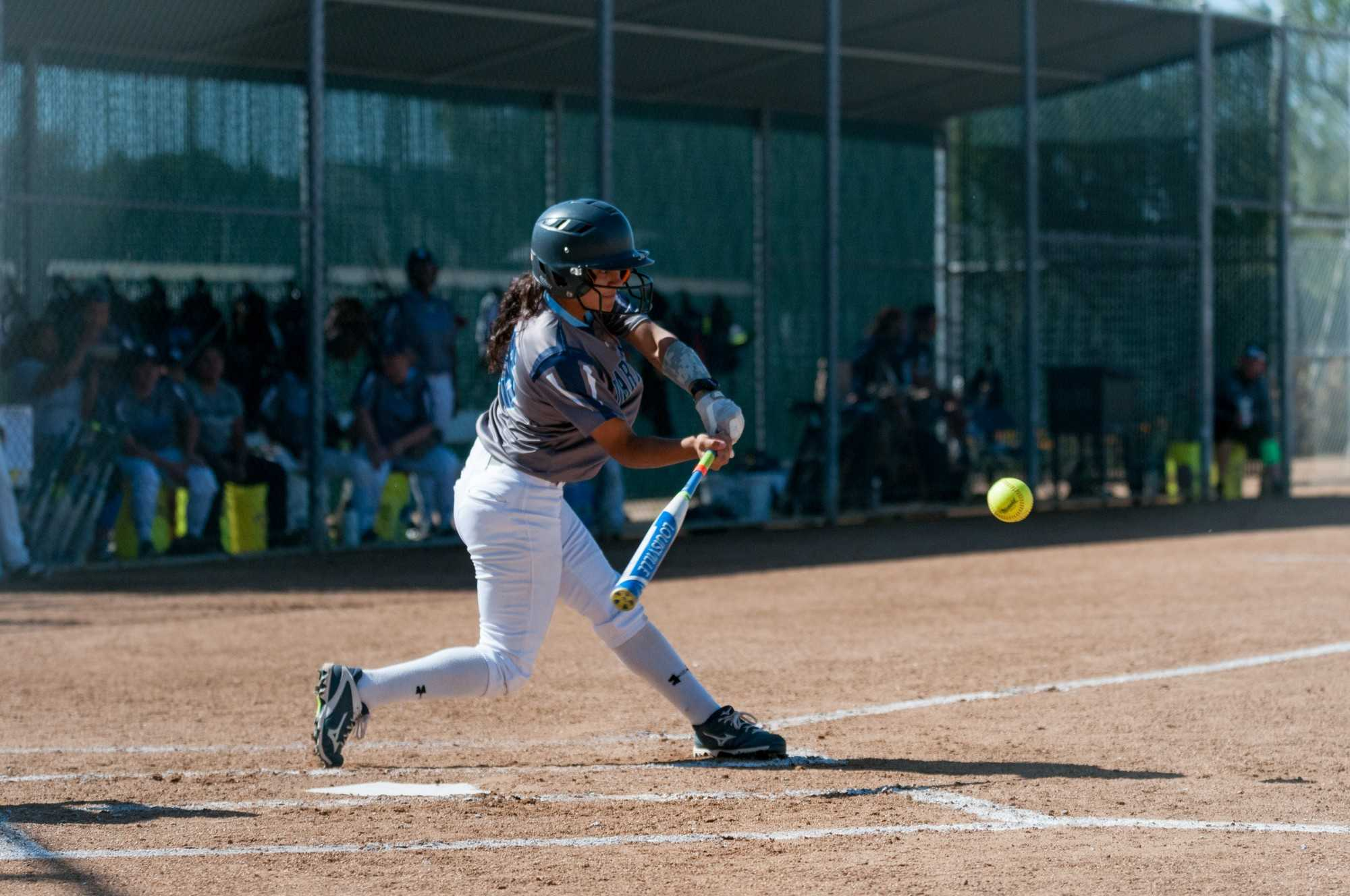 Freshman Karla Calderon (No. 16 Infield/Outfield) swings at a pitch during El Camino's win over L.A. Harbor College on Tuesday, March 28 at El Camino College. Photo credit: Osvaldo Deras