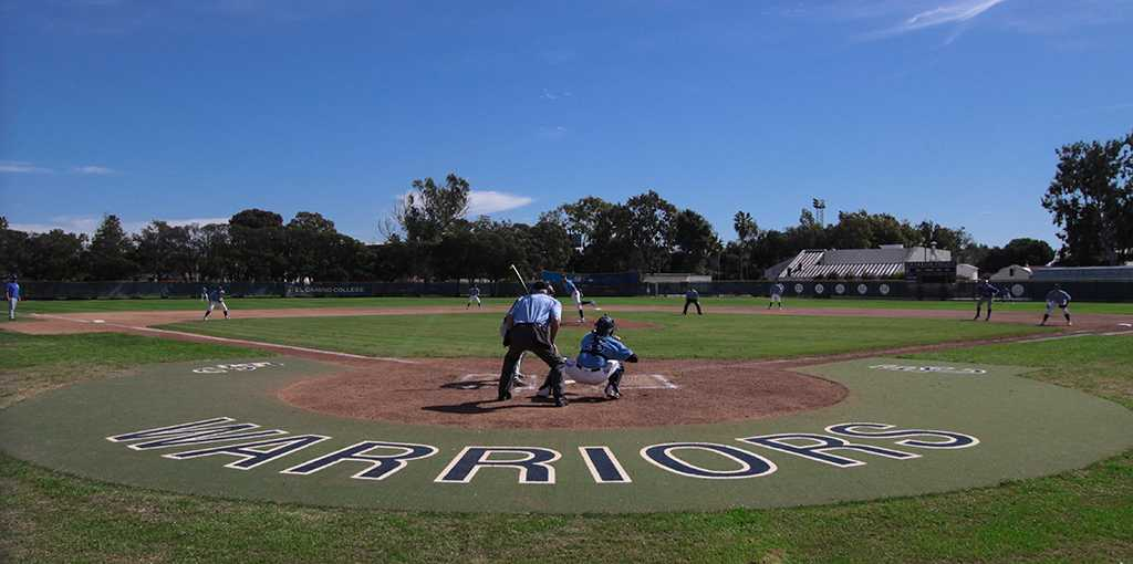 The Warriors baseball team begins the first inning of their Feb. 16 game against San Bernardino Valley College. The Warriors won the game, 12-3.
