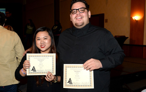 Angela Yim, editorial editor, and Rigo Bonilla, staff writer, won third and fourth place respectively in the Critical Review competition at JACC's state convention in Burbank, Calif. April 3-6. Photo credit: Charles Ryder