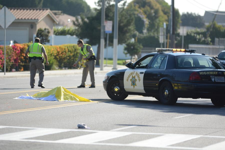 California Highway Patrol officers investigate after a male was struck by a driver near Alondra Park on Manhattan Beach Boulevard 7:15 Tuesday morning. The male is a non-student, EC Police Chief Michael Trevis said in an email.