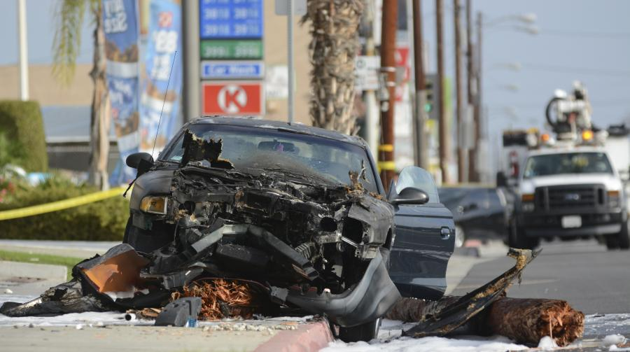 A driver collided with a light pole after being cut off on Crenshaw Boulevard and 154th Street. The collision occurred at approximately 7:50 a.m. The driver had no injuries. Photo credit: John Fordiani