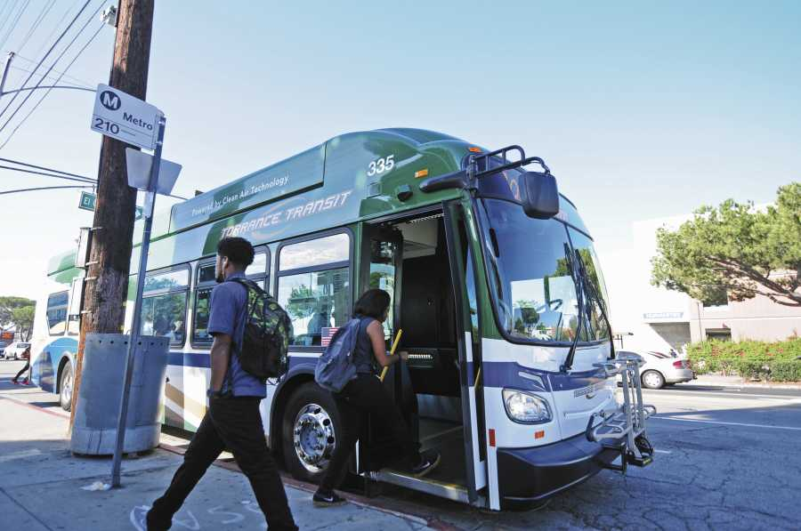 Students come and go to school using public transportation of Torrance Transit, Metro, and personal vehicles. Photo credit: Amira Petrus