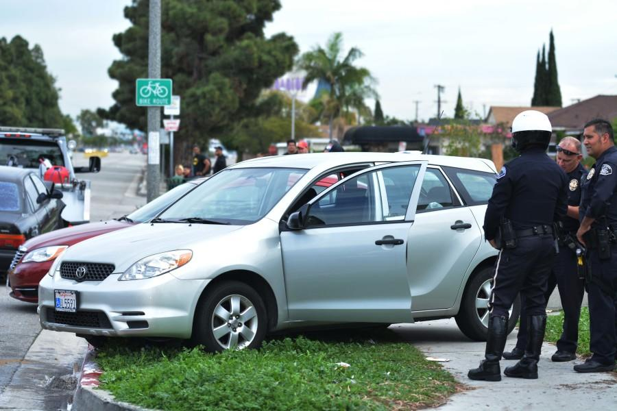 Two vehicles collided on Redondo Beach Boulevard just east of Crenshaw Boulevard at approximately 12:20 p.m. Friday. One driver was transported to an area hospital. Photo credit: John Fordiani