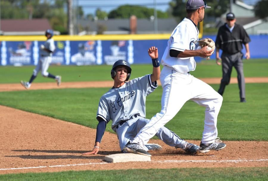 Warriors+infielder+Tyler+Martizia+slides+into+third+base+just+as+a+Cypress+College+third+baseman+catches+the+ball.+The+Warriors+lost+to+the+Chargers+6-5+on+Saturday.+Photo+credit%3A+John+Fordiani