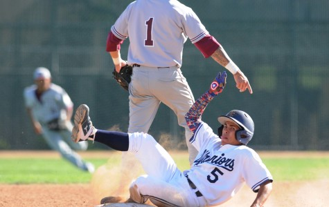 Warriors utility Joseph Cortez slides into second base on Tuesday March 24. Cortez was ruled out after it was deemed that the ball hit his leg as he slid into second base. The Warriors defeated Mt. San Antonio College 6-5 Tuesday afternoon. The Warriors are on a four-game winning streak and stand at 4-6 in the South Coast Conference. Photo credit: John Fordiani