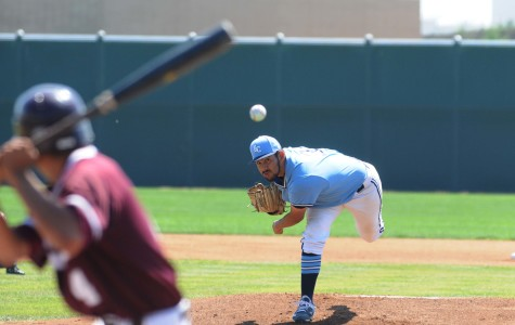 Warriors Ulices Moreno pitches to Mt. SAC in the first inning on Saturday March 28. The Warriors defeated the Mounties 6-1 on Saturday in the three part series. Photo credit: John Fordiani