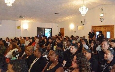 Friends and family crowded the Greater Good News Church of God in Christ on Thursday for Tommy Cheatham Jr.'s funeral. Friends from school, and family members, spoke about Cheatham and how he had an impact on them. Photo credit: John Fordiani