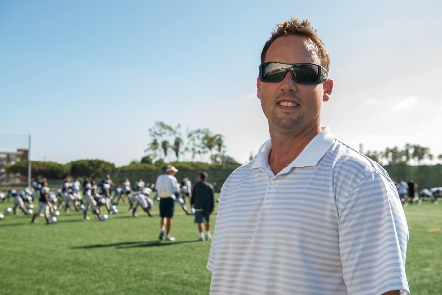 Athletic Director Randy Totorp is leaving El Camino for Long Beach City College on Sept. 11. Totorp was at EC for a year. In this file photo from Sept. 2014, Totorp visits a football practice before the Warriors first game of the season. Photo credit: Tristan Bellisimo