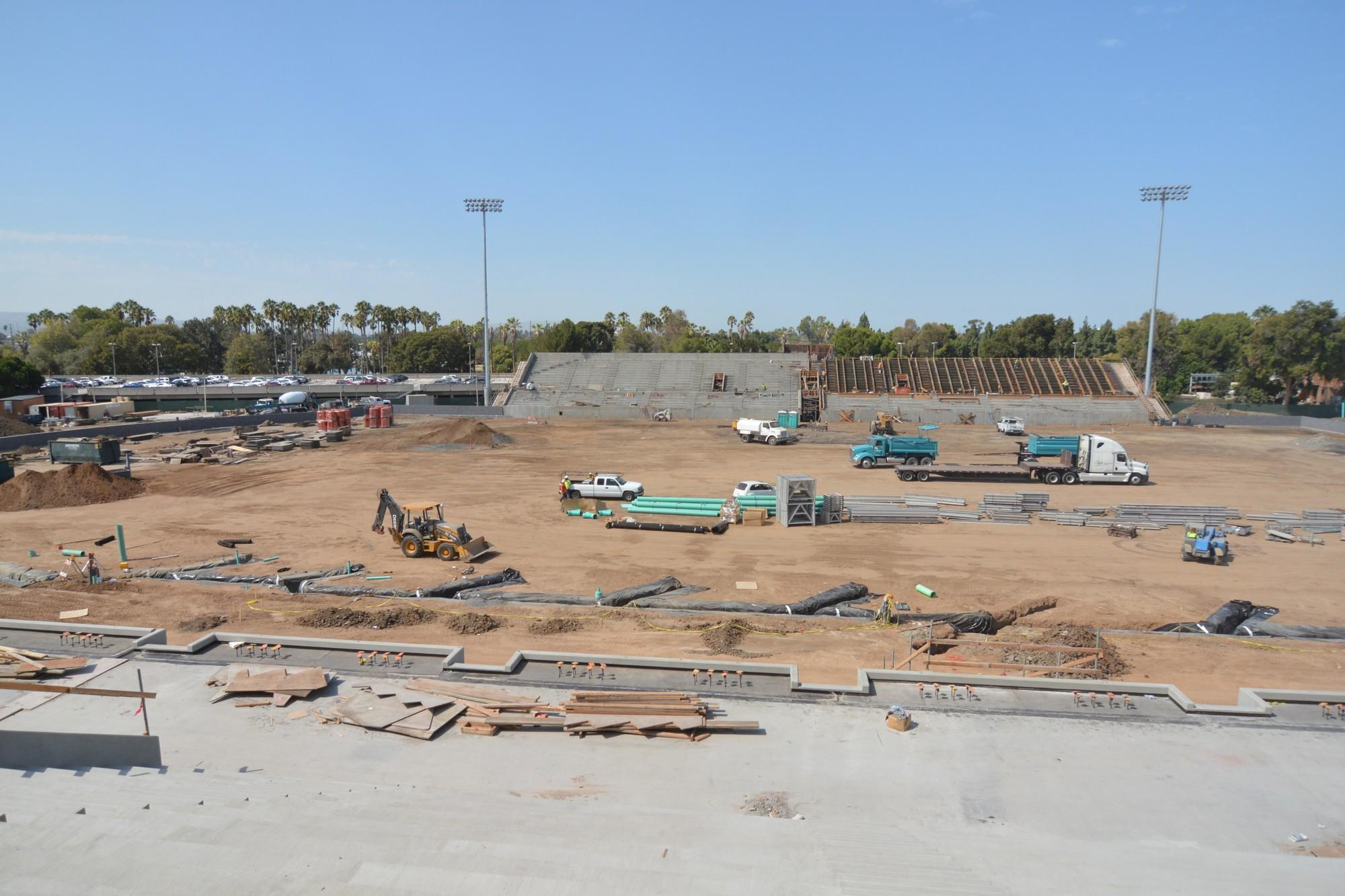Construction of the new $40 million Murdock Stadium is set to be completed by the end of the year. Once finished, the stadium have a dedicated football field, track and athletic training facilities. The new stadium is estimated to hold 8,000 people. Photo credit: John Fordiani