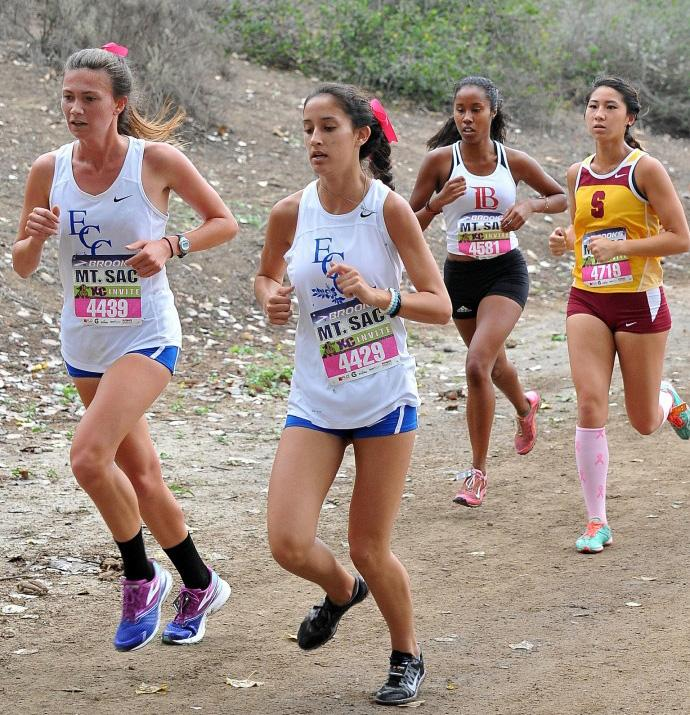 Sophomore+Hannah+Griffie+and+freshman+Jennifer+Villarreal+led+the+pack+for+EC%27s+women%27s+cross-country+team+on+Friday+at+the+Mt.+San+Antonio+College+Invitational%2C+coming+in+24th+and+39th+respectively.+Photo+courtesy+of+Coach+Dean+Lofgren.