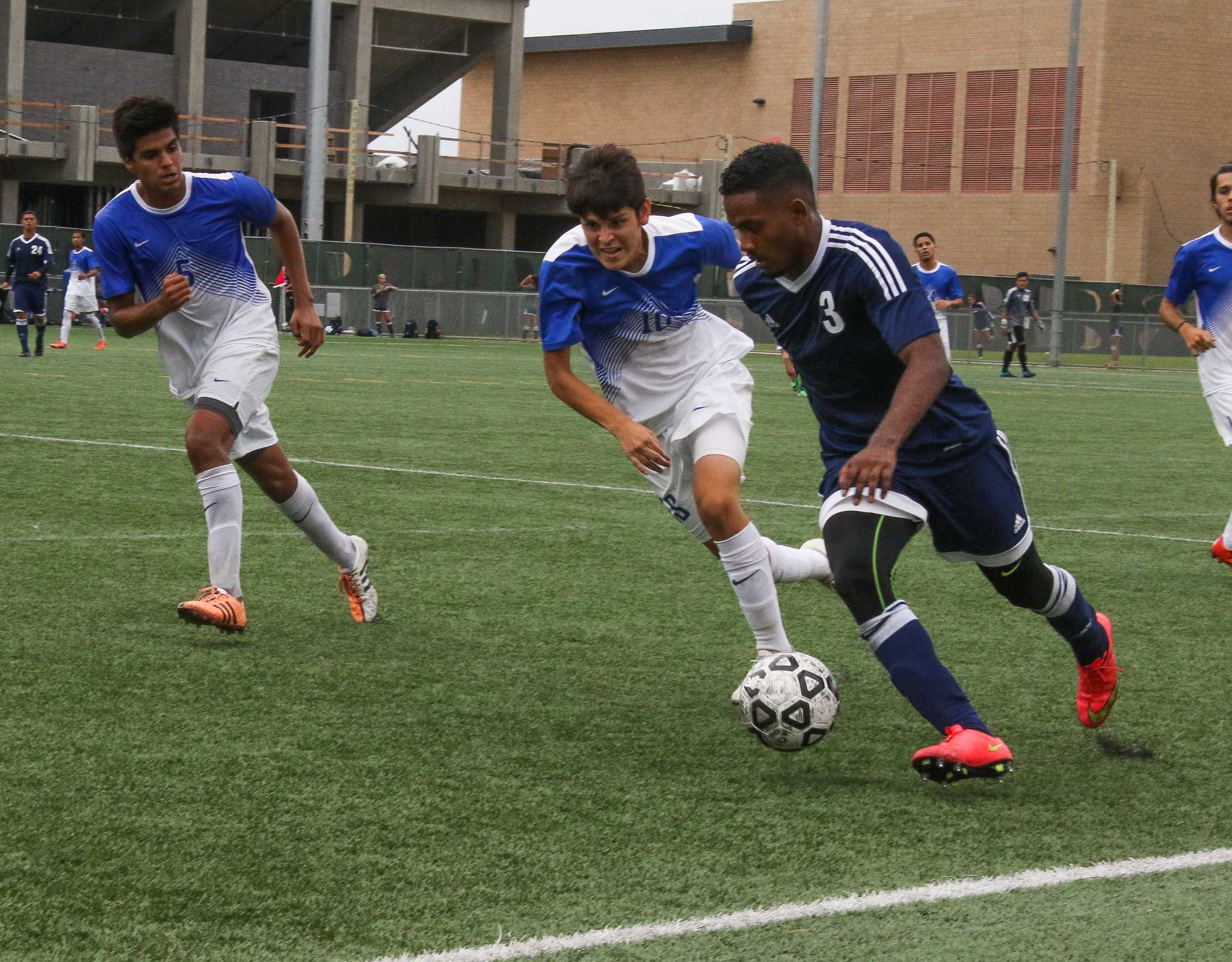 Men's soccer earns first conference victory