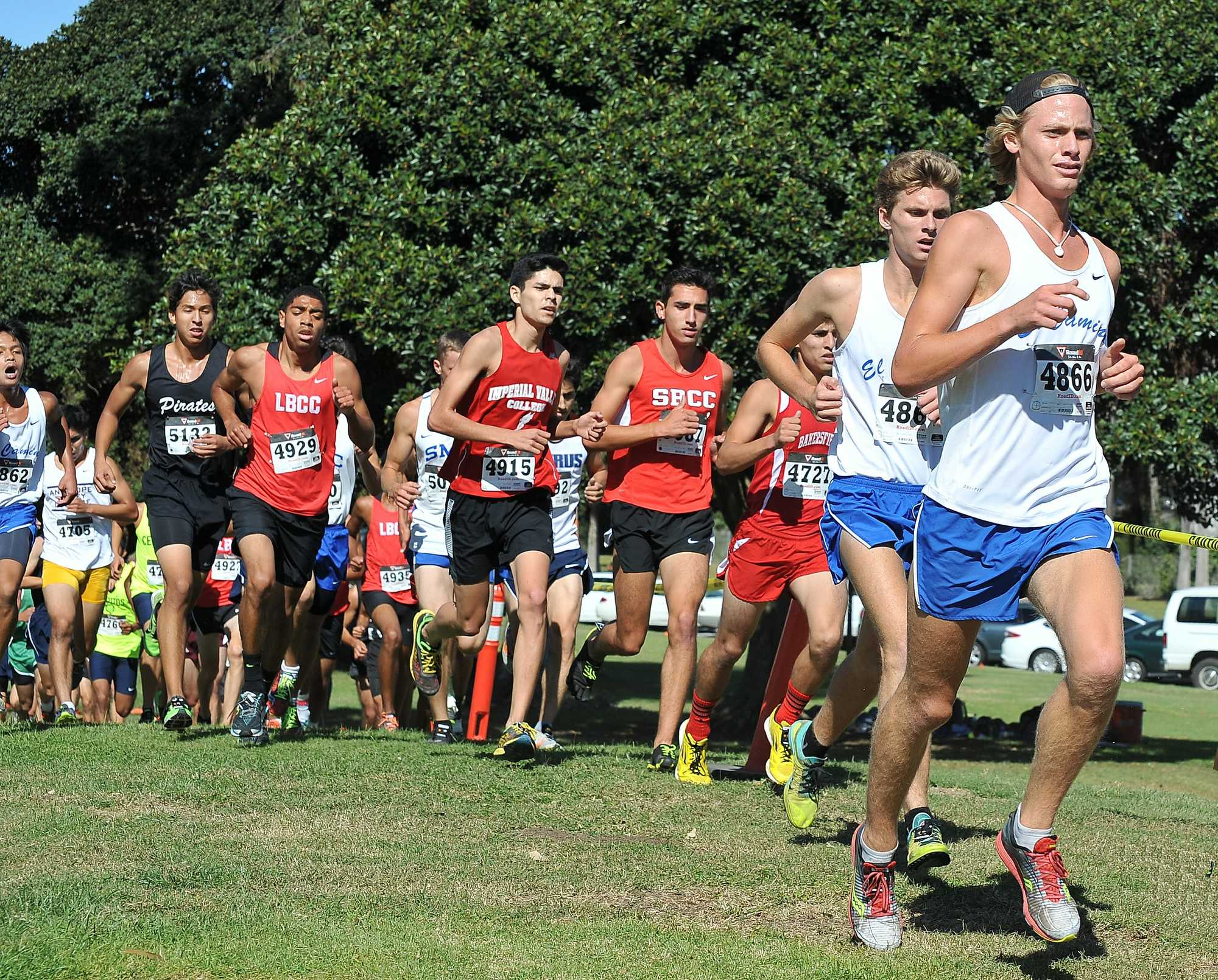 Freshmen Michael Moody (front) and David Hodges (behind) competed in a dense field of runners at the CCCAA SoCal Regional championships Friday morning. Photo courtesy of coach Dean Lofgren.