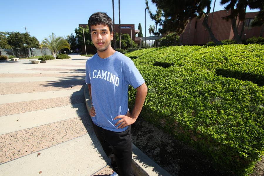 Vishu Gupta, 19, engineering major, poses in front of the ECC bushes near the Bookstore. Gupta is the recently-appointed Associated Student Organization president. Photo credit: Jorge Villa