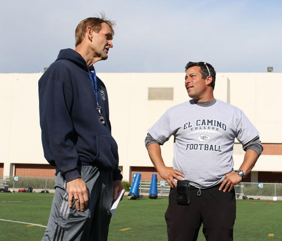New El Camino head football coach Gifford Lindheim talking with longtime assistant coach Eugene Engle at a spring practice on Tuesday, March 29. Photo credit: Jo Rankin