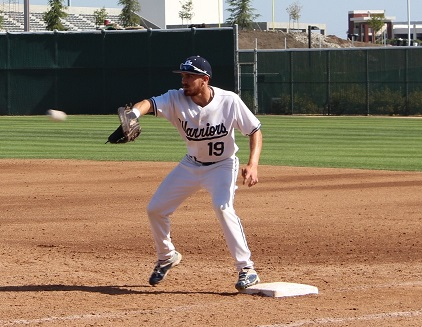 Sophomore first baseman Jake Sahagian prepares to catch the ball and put the runner out against Pasadena City College on Tuesday, March 16. Photo credit: Brandon Park