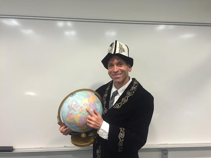El Camino professor Matt Ebiner dressed in a Kyrgyzstan hat and jacket after his lecture on Central Asia at L.A. City College on March 4. Photo credit: Tayler Dahm