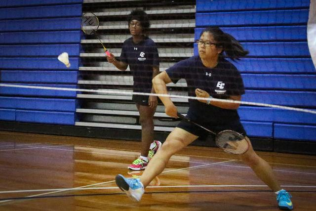 Natsuki+Hoshiko+%28right%29%2C+with+partner+Shadira+Woodard+hits+a+backhand+during+a+doubles+game+played+against+East+Los+Angeles+College+on+April+15.+Photo+credit%3A+Sue+Hong