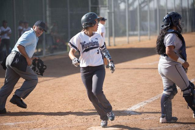 Frehsman outfielder Kattya Calderon step on home plate to score a run during a home game versus Cerritos College on Tuesday, April 5. Photo credit: Gabriela Better