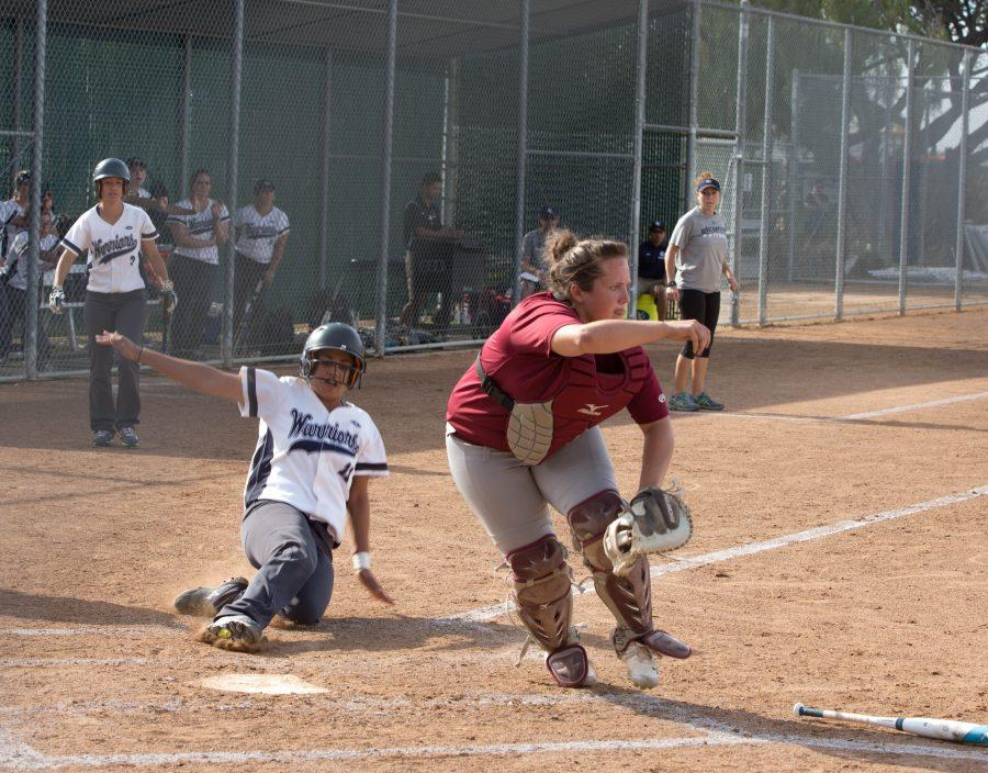 Warrior freshman third baseman Mia Quintero rushes to third base Tuesday April 19th against Pasadena City College. Photo credit: Gabriela Better