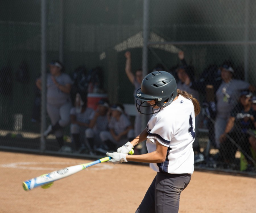 Warrior's freshman center fielder Raelani Camez hits an inside park-homerun Tuesday, April 5th against Cerritos College. The Warrior's marked their victory over The Falcon's 7-5. Photo credit: Gabriela Better