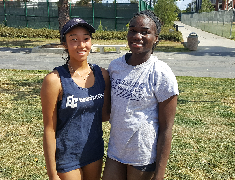 Michelle Shimamoto and Nickeisha Williams, sophomores, make up the No. 2 pair from El Camino's beach volleyball team. Today they were crowned the Western State Conference individual champions after overcoming teammates Brooke Russell and Taylor Brydon in the final match. Photo credit: Phil Sidavong