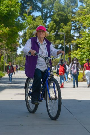 Pirkko De Bar rides her bike to El Camino. Pirkko De Bar, Finnish of origin, 86-year-old rides her bicycle to volunteer at El Camino gallery. Photo credit: Elena Perez