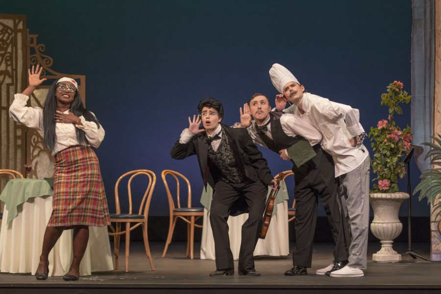 (Left to right): Anjail Bakeer, Katherine Schilenko, Joseph Flint, and John Webb  give a witty performance of