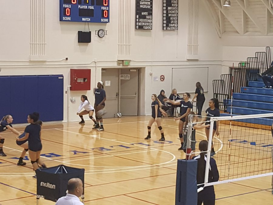 No. 6 El Camino women's volleyball team practices before it hosts No. 11 Bakersfield College.  The Warriors are 21-0 against lower ranked opponents this season and the Renegades are 0-6 against higher ranked opponents. Photo credit: Phil Sidavong