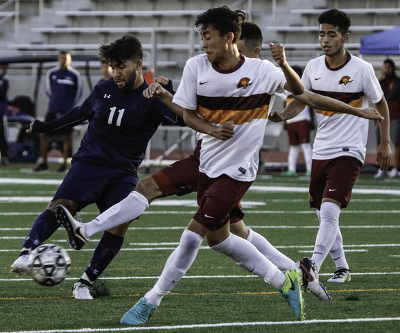 El Camino forward Marcos Ambriz taking possession of the ball and moving up field during the game against Pasadena City College on Tuesday Oct. 25, at El Camino. Photo credit: Jacquelyn  Romano