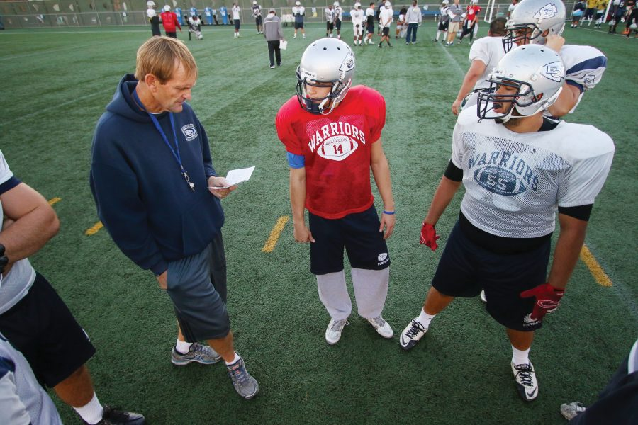 Coach Gene Engle served as offensive coordinator, offensive line coach and assistant coach during his tenure at El Camino. Photo credit: Jorge Villa