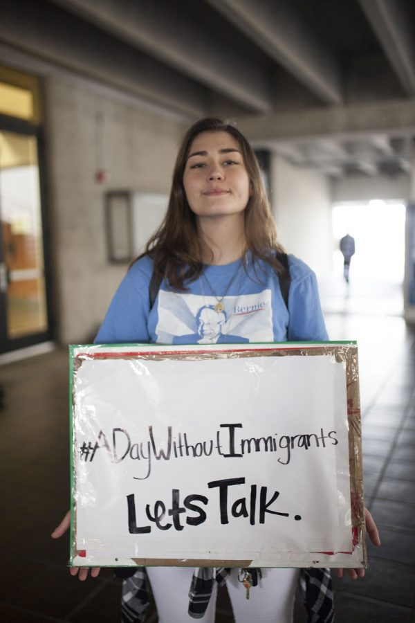 Naseem Eskandari, 20, psychology major, believes that there should be a dialogue for the subject on immigrants. Photo credit: Jorge Villa