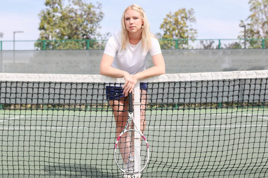 Violet Simpson competes in singles and doubles for the El Camino tennis team. Photo credit: Jorge Villa