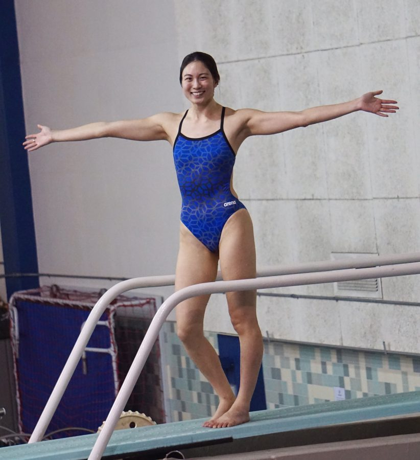 Jean Liu qualified for state in the 3 meter and will compete in the 1 meter at the South Coast Conference championships at East Los Angeles College beginning on April 20. Photo credit: Selvin Rodas
