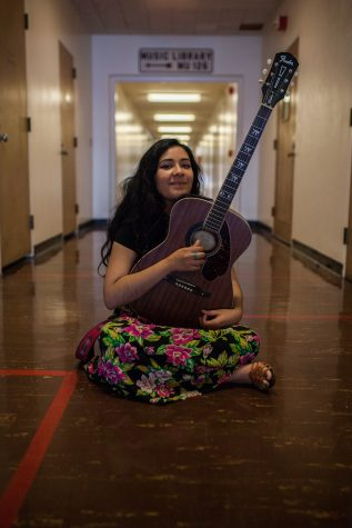Analiz Castillo, 21, jazz voice major, can be found in the Music Building anytime of the day sharpening her musical skills that started in spring 2015 and has since acquired a multifaceted voice range. Photo credit: John Lopez
