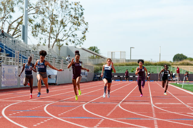 El Camino women's track team competes during the South Coast Conference preliminaries on Tuesday, April 25 at Murdock Stadium. Photo credit: Osvaldo Deras