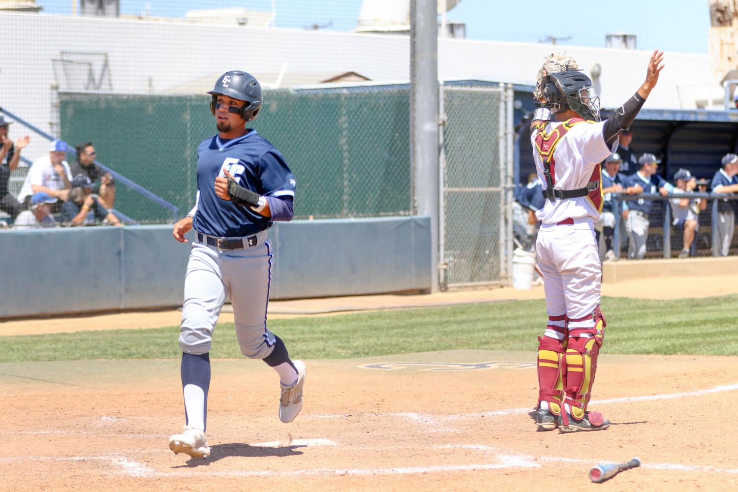 El Camino outfielder Noah Barba crosses home plate during the Warriors game against Pasadena City College on Saturday, May 13 at Warrior Field. Photo credit: Jorge Villa
