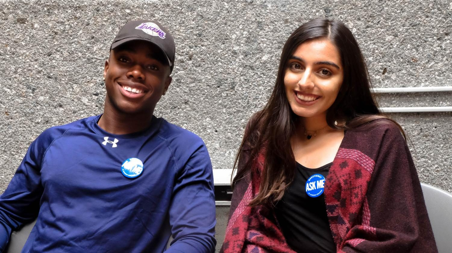 Student+ambassadors+Okwes+Nwaelleh+and+Anam+Khan+wearing+their+%22Ask+Me%22+buttons+on+the+second+week+of+school.+Photo+credit%3A+Emma+Dimaggio
