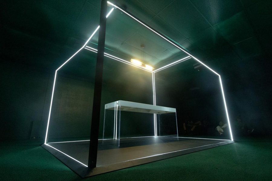 A+pen+and+knife+lay+on+the+middle+of+the+slab+enclosed+within+the+open+space+parameters+of+the+LED+lighting.The+%22Diodati+Revisited%22+is+a+reinterpretation+art+installation+of+the+Villa+Diodati%2C+where+author+Mary+Shelley+conceived+the+idea+for+novel+%22Frankenstein%22+which+is+located+at+the+MBBM+building+in+room+137..
