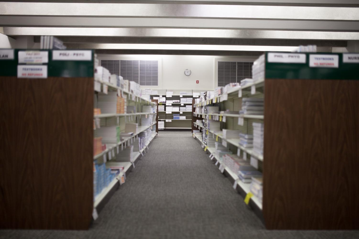 An aisle of textbooks in the El Camino Bookstore. The bookstore has faced competition from online retailers in recent years. Photo credit: Jorge Villa