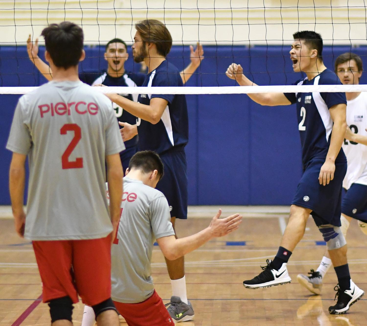 Los Angeles Pierce College defeats mens' volleyball team at home game
