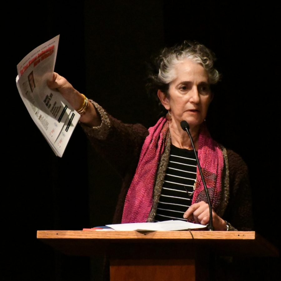 Pr. Joyce Dallal of the Art Department of El Camino College makes an announcement at the Art Panel in Haag Recital Hall on Thursday 3/15/18. Photo credit: Jack Kan