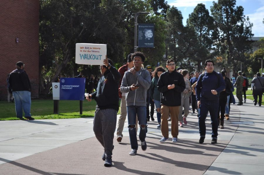 Some students at El Camino College were protesting gun violence. Photo credit: Miyung Kim