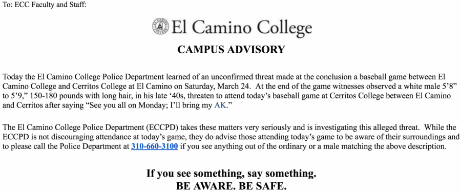 The advisory was initially sent to faculty and staff and a modified version with safety tips was sent to students over an hour later. Photo credit: Faith Petrie