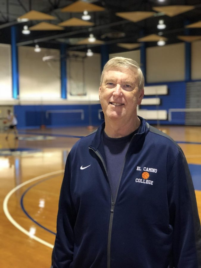 Steve Shaw, head coach for EC Warriors women's basketball has been coaching for twenty seasons at EC. Photo credit: Ryan Guitare