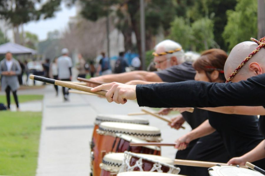 A+musical+performance+done+by+Taiko+Center+of+Los+Angeles+at+the+18th+Annual+Cherry+Blossom+Festival+on+Thursday%2C+April+5.+Photo+credit%3A+Jaimie+Woods