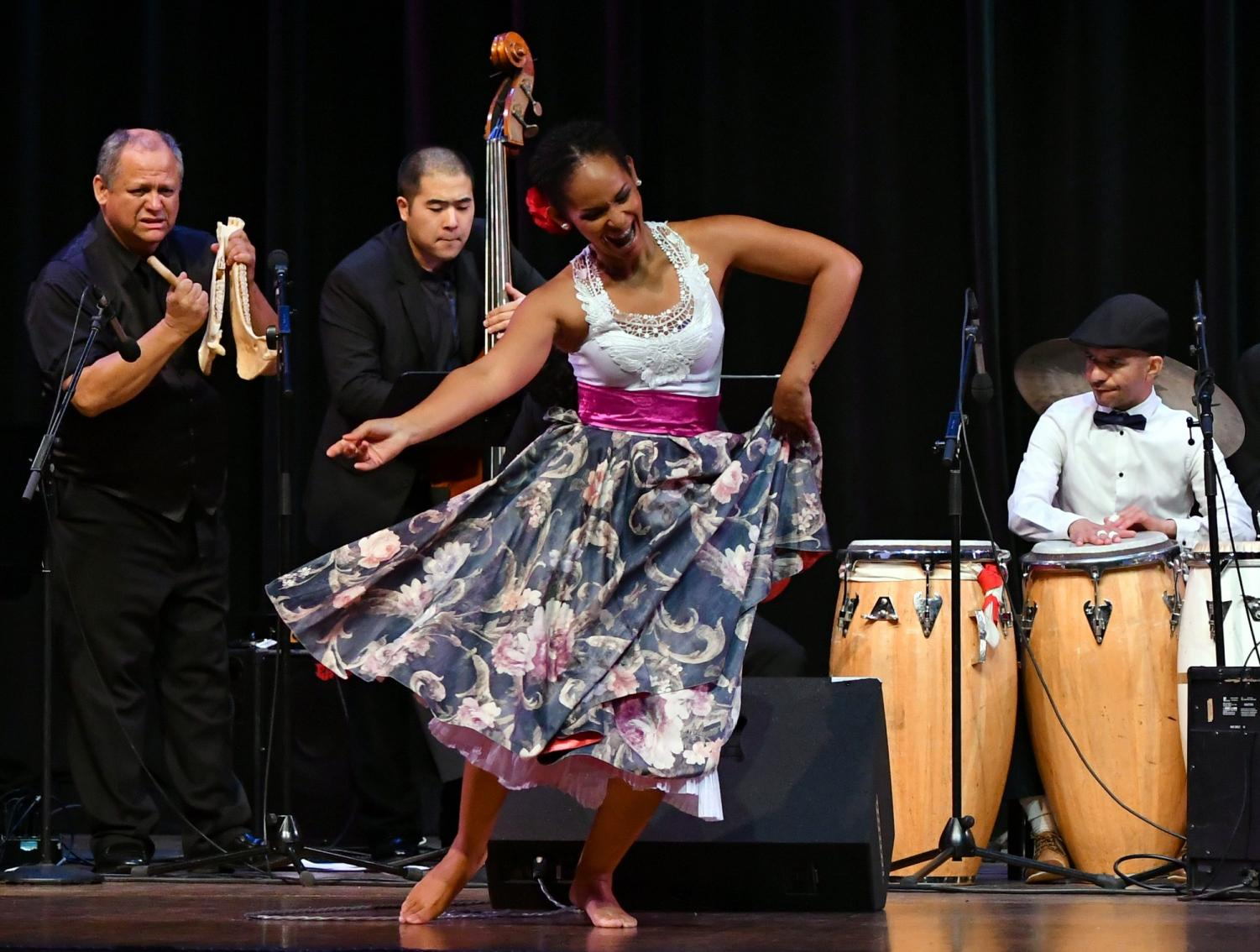Peruvian dancer Nadia Calmet performs with the Afro Peruvian Jazz Orchestra during  El Camino's ¡!Fiesta de Jazz! on Saturday, May 5. Photo credit: Jack Kan