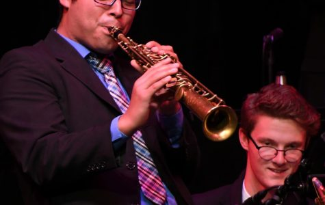 Guest artist Anibal Seminario solos on soprano sax with the ECC Concert Jazz Band at the Campus Theater, on Wednesday May 23, 2018. Photo credit: Jack Kan